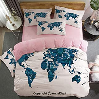 Duvet Cover, Bed Sheet Set Bedding Set 4 Piece Set Flourish in Blue Tones Earth Continents with Ornate Eco Plants Crystal Velvet Ultra Soft Hypoallergenic Zipper Closure Dark and Violet Blue