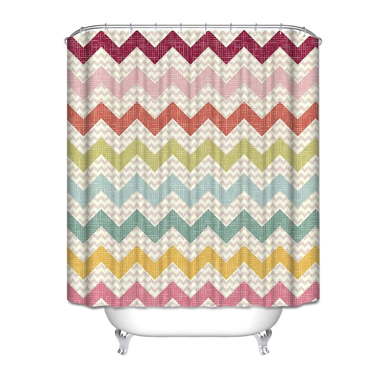 SPXUBZ Ombre Chevron Rainbow Colorful Zig Zag Pattern Accessories Fashion Ornamental Artist Western Shower Curtain Waterproof Bathroom Decor Polyester Fabric Curtain Sets Hooks