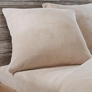 Sleepdown Fleecefilt kuddfodral, enfärgad, varm, mysig, supermjuk, 80 cm x 80 cm, naturliga färger, natur, örngott par 80 ...