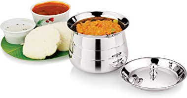 Kismis Stainless Steel Mudhiras Curry and Rice Pot Multipurpose Cookware with Lid (Silver, 850ml)