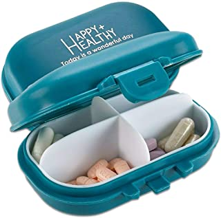 MEDca Daily Pill Organizer - (Pack of 2) Small AM PM Pill Organizer - Cute 4 Compartment Pill Organizer 2 Times a Day Case...