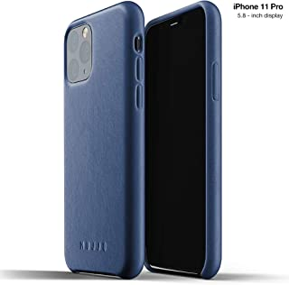 Mujjo Full Leather Case for Apple iPhone 11 Pro | Premium Soft Supple Leather, Unique Natural Aging Effect | Leather Wrapped, Super Slim (Monaco Blue)