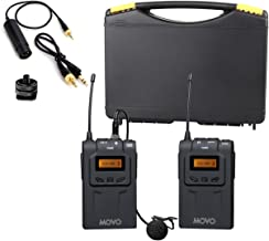 Movo WMIC70 Wireless Lavalier Microphone System - 48 Channel UHF Lapel Mic System with Cordless Mic, 3.5mm XLR Output, and Carrying Case (328-foot Range)