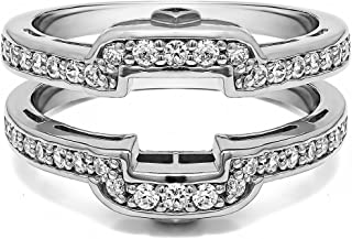 TwoBirch .50 Ct. Square Halo Peek-a-Boo Wedding Ring Guard in Sterling Silver with Cubic Zirconia