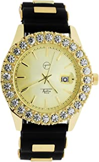 iRockBling Techno Pave Iced Out Bling Simulated 1 Row Big Stone Yellow 14k Gold Plated Cronograph Dial JoJo Jojino Analog Bullet Band Watch