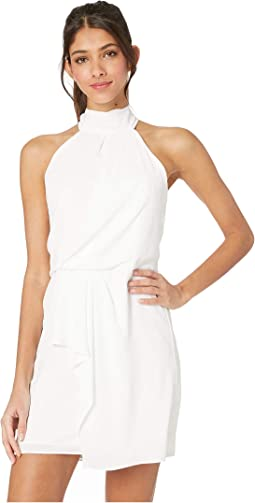 Sleeveless Mock Neck Dress with Drape Front Detail