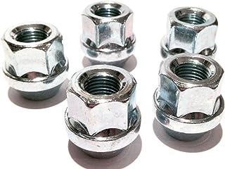 Radmuttern, offener Kopf, für Alufelgen, verzinkt, M12x 1,25, Kegelbund, 19 mm, Sechskant. Set mit 5 Radmuttern.