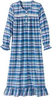 Womens Flannel Long Nightgown Sleepwear Plaid with Long Sleeves
