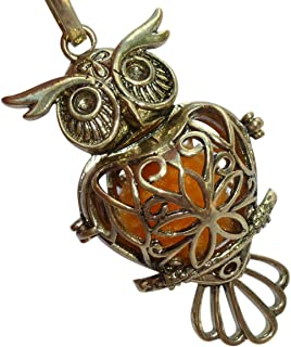 UMBRELLALABORATORY Your Personal Stylish Essential Oil Necklace Steampunk owl Gold Tone d1 0