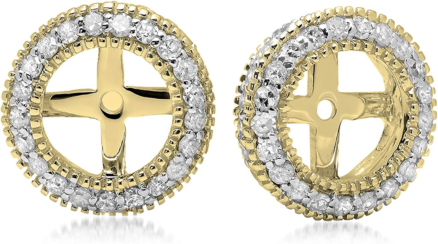 Dazzlingrock Collection 0.55 Carat (ctw) 10K Gold Round Diamond Removable Jackets For Stud Earrings 1/2 CT