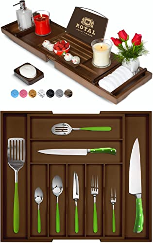 lowest Luxury outlet online sale Bathtub Caddy Tray (Brown) and Bamboo Silverware Drawer Organizer (Brown) by discount Royal Craft Wood outlet sale