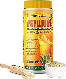 Organic Psyllium Husk Powder, 420 g, USDA Organic Certified, Gluten Free, Vegan, Non-GMO, Orange Flavour, Fiber Supplement
