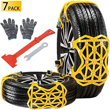 Qoosea Snow Chains 7 Pack Universal Car Anti-Skid Emergency Adjustable Tire Chains for Cars SUV Truck Driving on Snow and Ice Road, Sand and Mud Road, Uphill Road, Fit Tire Width from 165mm-265mm: image