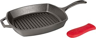 Lodge Manufacturing Company L8SGP3ASHH41B Lodge Cast Iron 10.5-inch Square Grill Pan, Black