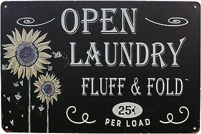 Hioni Plaque en métal avec inscription « Open Laundry Fluff & Fold » - Décoration murale vintage