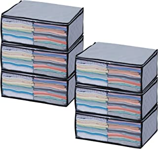 アストロ 収納ボックス 衣類用 6枚組 グレー 不織布 活性炭消臭 171-11