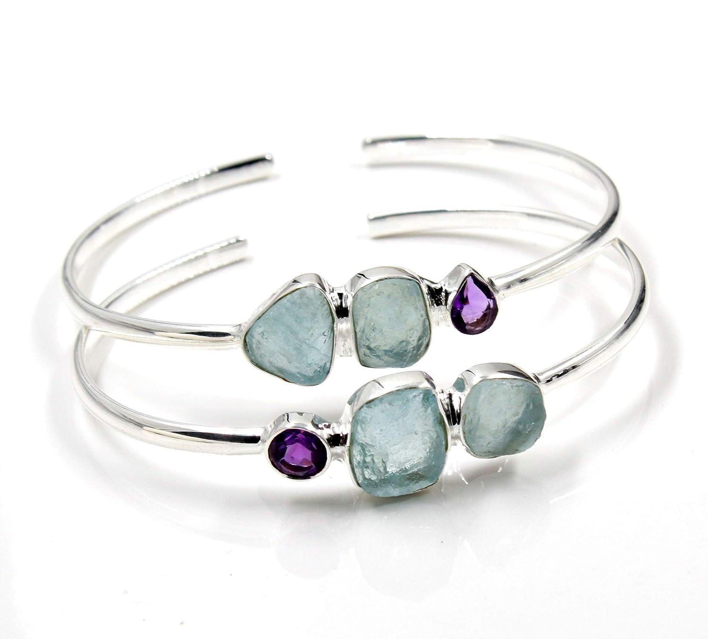 List price Aquamarine Bracelet Amethsyt Popular Gemstone Sterling Bangle 925 Silver