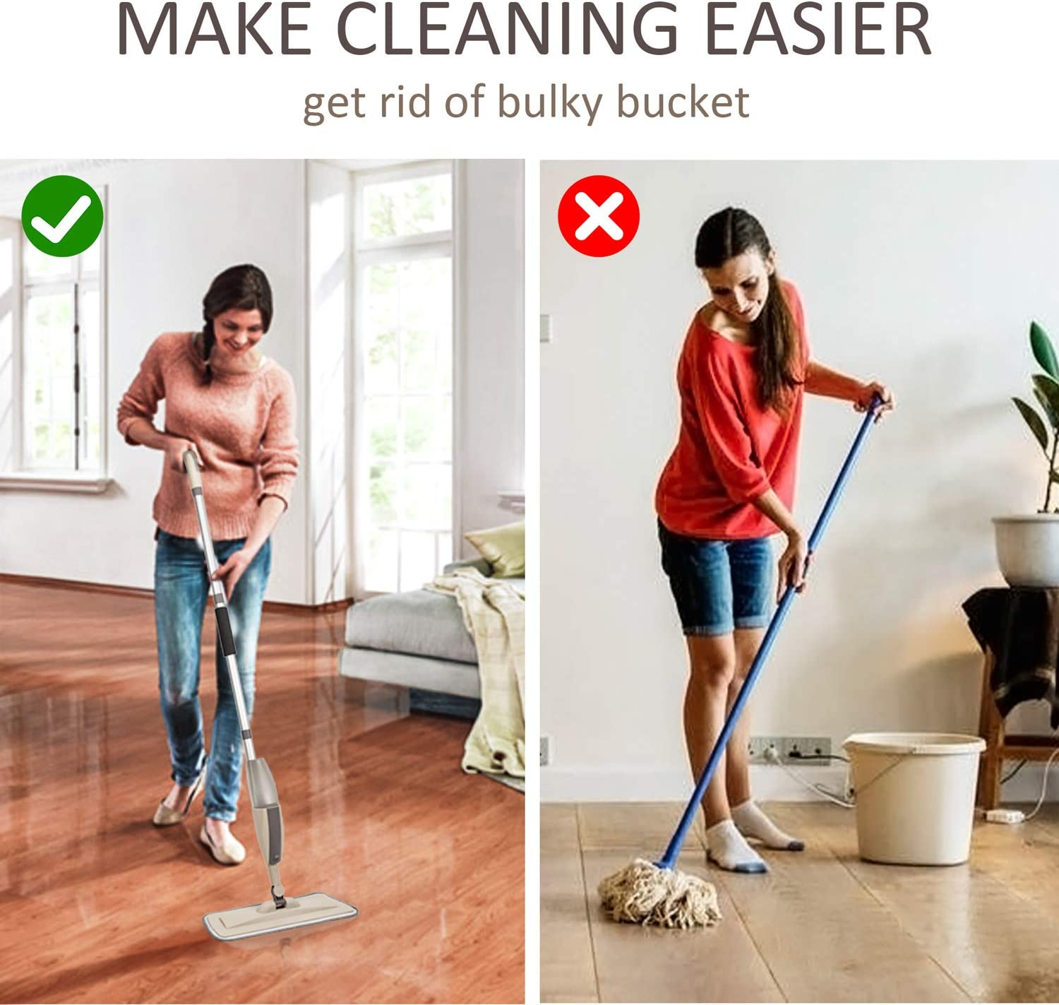 Microfiber Spray Mop Pads for Floor Cleaning Grey, 2 Pcs 2 pcs Washable Mop Replacement Pads