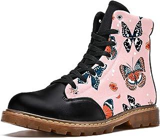 LORVIES Papillon Rose Bottes d'hiver Chaussures Montantes en Toile à Lacets pour Hommes