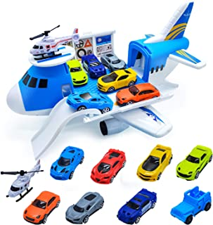 Airplane Toy - Huge Transport Airplane Play Set with Car Toys for 2 3 4 5 6 Year Old Toddlers Boys Girls Gifts, Large Toy Airplane Playset with 9 Pcs Toy Cars & Helicopter