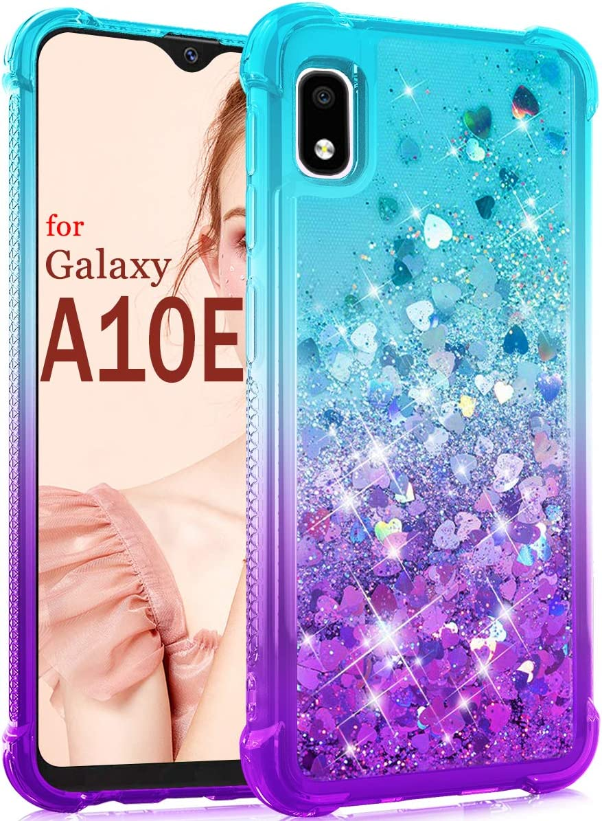Dzxouui for Galaxy A10E Case,Samsung Galaxy A10E Case,TPU Protective Cover for Girls and Women Glitter Bling Sparkle Cute Phone Case for Samsung Galaxy A10E(Teal/Purple)