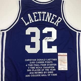 Autographed/Signed Christian Laettner Duke Blue Stat The Shot College Basketball Jersey JSA COA