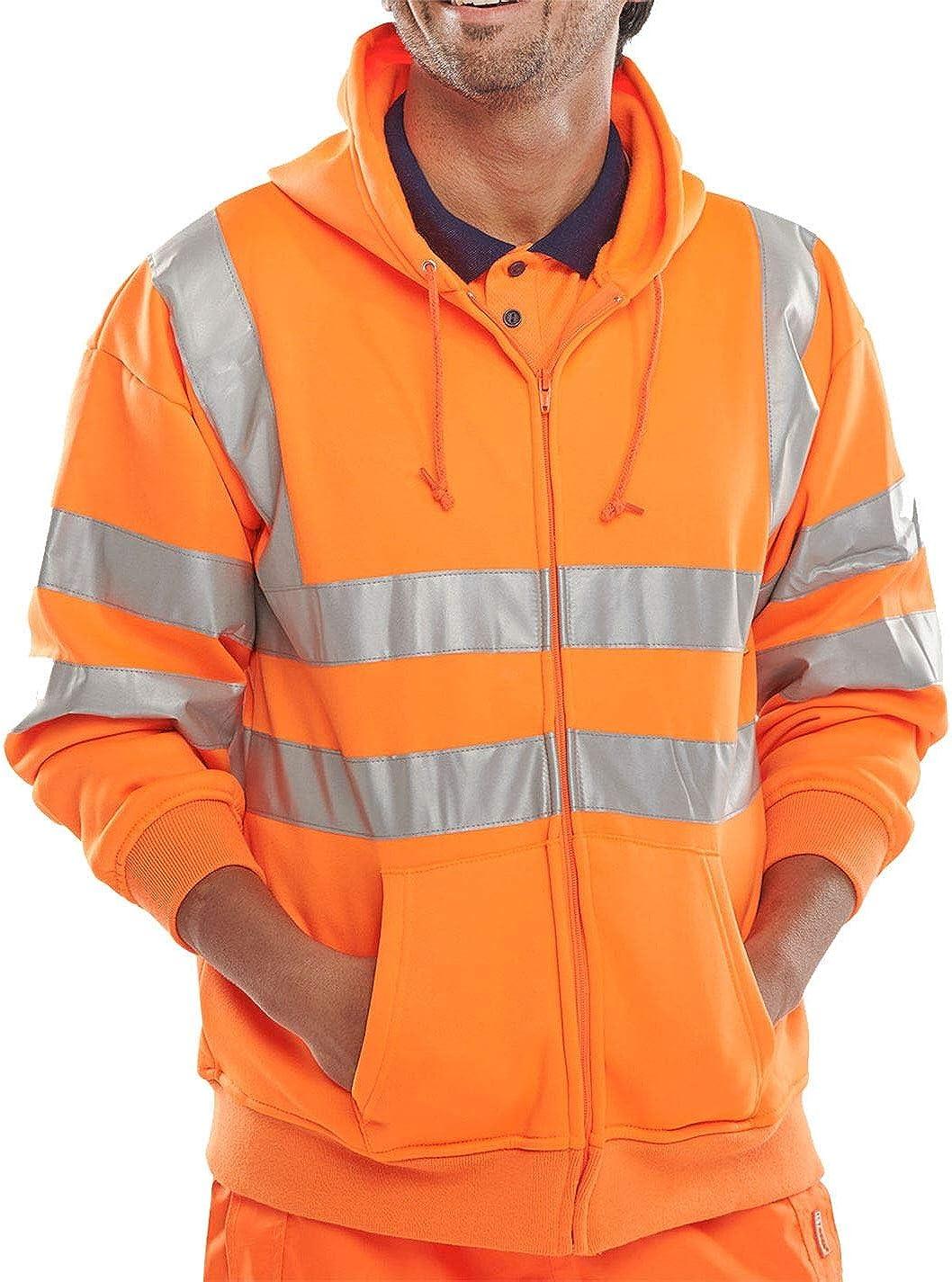 Rimi Hanger Hi Viz Vis High Visibility Hooded Sweatshirt Reflective Work Zip Fleece Jacket Small/3X Large