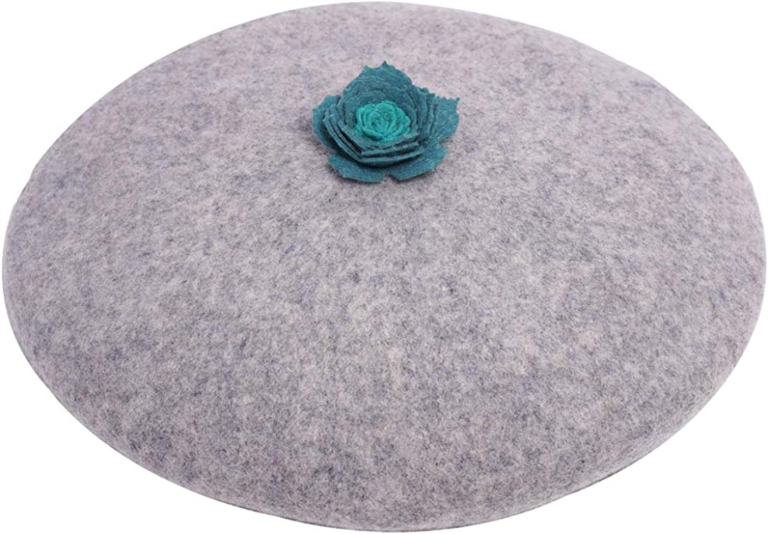 Blue-Green Succulent Plant Beret Women's Vintage Painter Hat Grey Wool French Beret Elegant Lady Decor