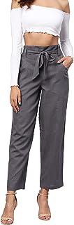 Idalia Women's Grey Solid Cotton Trousers