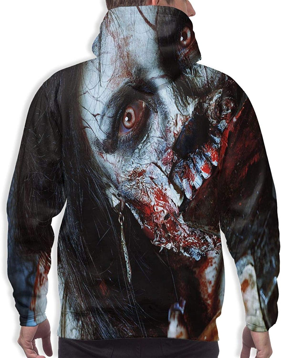 TENJONE Men's Hoodies Sweatshirts,Scary Dead Woman with A Bloody Axe Evil Fantasy Gothic Mystery Halloween Picture