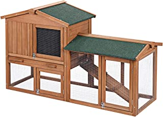 "Tangkula 58"" Chicken Coop Large Wooden Outdoor Bunny Rabbit Hutch Hen Cage with Ventilation Door, Removable Tray & Ramp Garden Backyard Pet House Chicken Nesting Box"