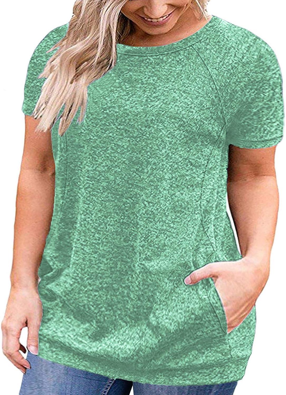DOLNINE Plus Size Tops for Women Short Sleeve Shirts Pocket Tunic Blouses XL-4XL