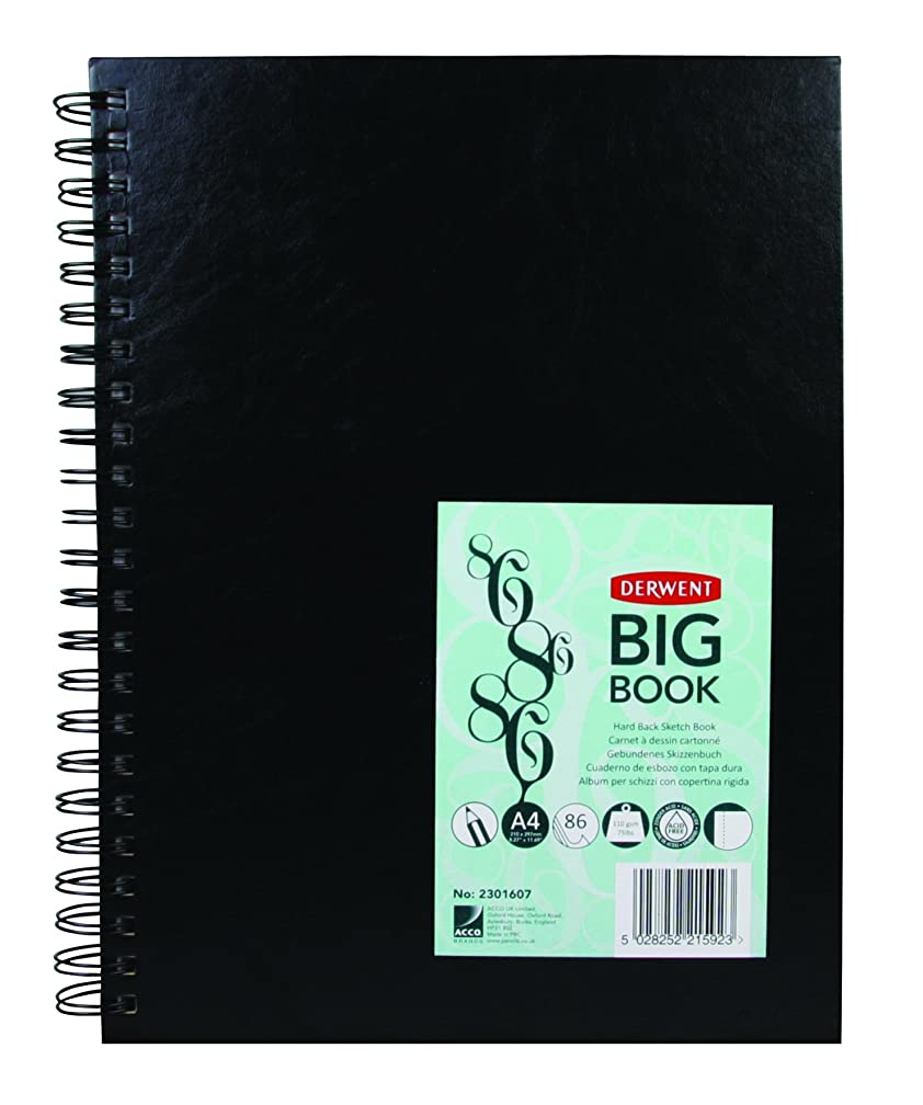Derwent Sketch Book, Big Book Drawing Pad, A4, 8.27 x 11.69 Inches Sheet Size, Wirebound, Hard Covers, 86 Sheets (2301607)