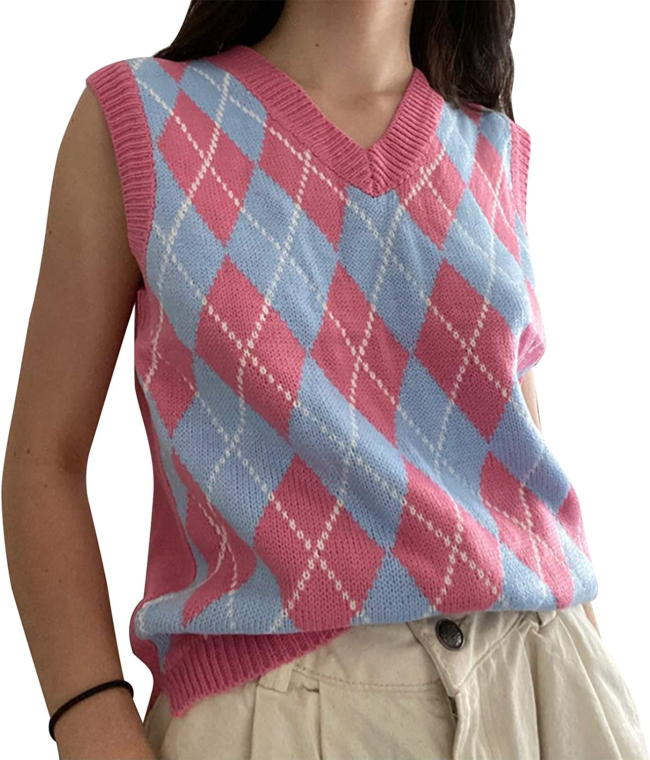 Women's Knitted Cotton V-Neck Vest JK Uniform Pullover Y2k 90s E-Girl Sleeveless Crop Sweater School Cardigan (Checkered Water Pink,Large)