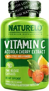 NATURELO Premium Vitamin C with Organic Acerola Cherry and Citrus Bioflavonoids - Whole Food Powder Supplement - Not Synth...
