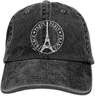 Paris Eiffel Tower Stampadjustable Unisex Baseball Cap Fashion Style Hat Cotton Denim Cap