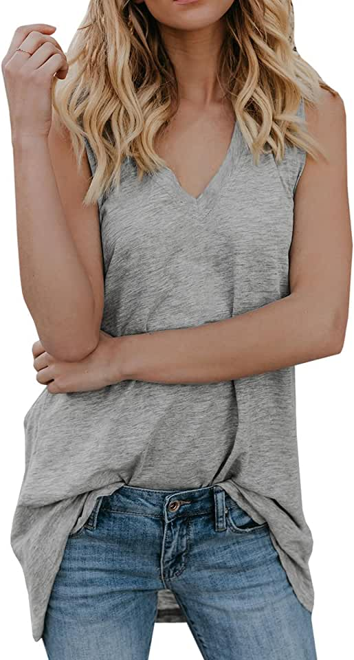 Beotyshow Womens Sleeveless Tank Tops V Neck T-Shirts Casual Loose Fit Cotton Long Tunic Shirts