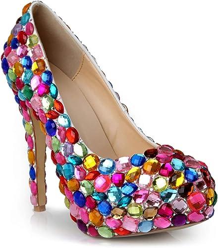 Lindarry Escarpins for Femmes Stilettos Fermé Toe Rond Slip Slip sur Premium en Cuir Couleuré Strass 3.5cm Talon étanche Plateforme Chaussures De Demoiselle d'honneur Mode  les magasins de détail
