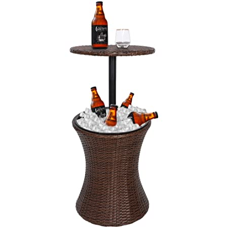 ZenStyle Height Adjustable Cool Bar Rattan Style Outdoor Patio Table Cooler All-Weather Wicker Bar Table with Ice Bucket for Party, Pool, Deck, Backyard (Brown)