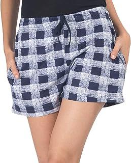NITE FLITE Women's Blue & White Checks Printed Shorts