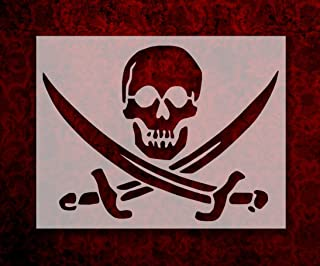 Pirate Skull Crossed Swords Flag 11 x 8.5 Inches Custom Stencil (63)