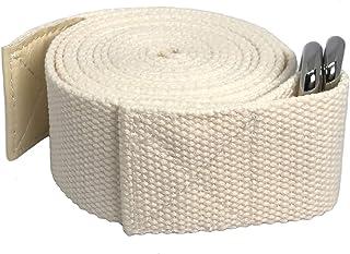 Teeyar ヨガストラップ 綿/ヨガベルト コットン - 184cm/240cm/300cm プレミアム 調節可能 (白/パープル)3年保証