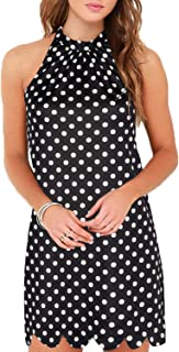 Women's Sleeveless Halter Neck Patchwork Lace Mini Casual Shift Dress