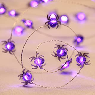 Impress Life Halloween Costume Party Spooky Spider String Lights, 10ft 40 LEDs Battery Operated with Dimmable, Flicker Remote for Porch, Trick or Treat Welcome, Patio, House, Bedroom Decoration
