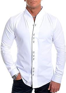D&R Fashion Men's Shawl Grandad Collar Shirt Contrastive Piping and Cuffs Long Sleeve Cotton