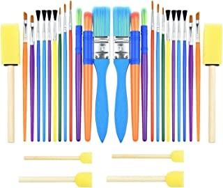 30PCS Colorful Kids PAINT BRUSH Set, Childrens Paint Brushes Starter kit for Watercolor, Oil, Acrylic, Paints, Paintbrush,...