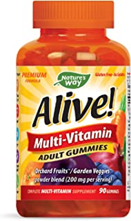 Nature's Way Alive!® Adult Premium Gummy Multivitamin, Fruit and Veggie Blend (150mg per serving), Full B Vitamin Complex,...