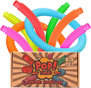 OleOletOy Pop Tubes Sensory Fidget Toy for Kids, Pull 'N Pop 6-Pack Educational STEM Toys for Construction and Building Activity, Helps Reduce Stress for Autism, ADHD and Children with Special Needs