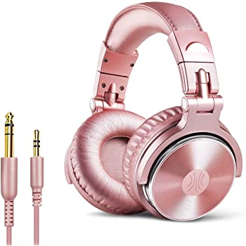 OneOdio Over Ear Headphones for Women and Girls, Wired Bass Stereo Sound Headsets with Share Port, 50mm Driver Rose Gold Headsets with Mic for PC, Phone, Laptop, Guitar, Piano, Mp3/4, Tablet (Pink)