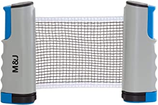 M&J Anywhere Retractable Table Tennis Net and Post. Adjustable Replacement Ping Pong Net